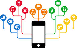 Smartphone & Social Media icons, communication in the global computer networks Royalty Free Stock Images
