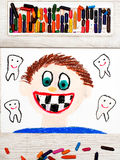 Drawing: Smiling boy without milk teeth.  Losing baby teeth. Photo of colorful drawing: Smiling boy without milk teeth.  Losing baby teeth Stock Photography