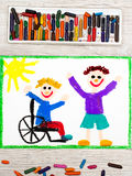 Drawing: Smiling boy sitting on his wheelchair. Disabled boy with a friend. Photo of colorful drawing: Smiling boy sitting on his wheelchair. Disabled boy with a Royalty Free Stock Photo