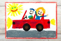 drawing: Smiling couple sitting on their cabriolet car. Car with a roof. vector illustration