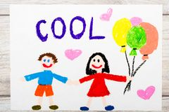 Drawing. Smiling couple and word COOL Royalty Free Stock Photography