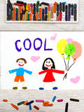 Drawing. Smiling couple and word COOL Stock Photography