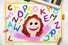 Drawing: Smiling girl and colorful alphabet letters. Colorful drawing: Smiling girl and colorful alphabet letters next to her stock illustration
