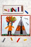 Drawing: Smiling Indian in a headdress stock image