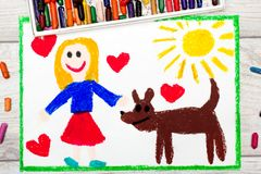Drawing: Smiling little girl and her cute dog. Photo of colorful drawing: Smiling little girl and her cute dog Stock Image