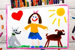 Drawing: Smiling little girl and her cute dogs. Photo of colorful drawing: Smiling little girl and her cute dogs Royalty Free Stock Images