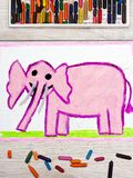 Drawing: Smiling pink elephant. Photo of colorful drawing: Smiling pink elephant royalty free stock photo