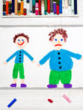 Drawing: Smiling slim boy and obese sad boy. Colorful drawing: Smiling slim boy and obese sad boy. Weight loss Stock Photo