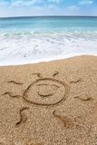 Drawing smiling sun symbol Royalty Free Stock Image
