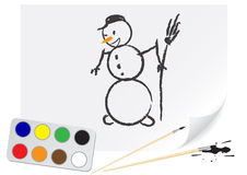 Drawing snowball Stock Photo