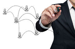 Drawing social network. Drawing social network structure in a whiteboard Royalty Free Stock Photo