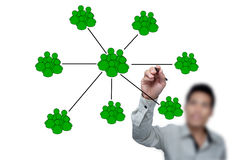 Drawing social network. Drawing social network structure in a whiteboard Royalty Free Stock Images