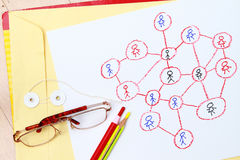 Drawing a social network scheme Stock Photography