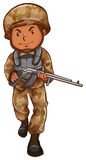 A drawing of a soldier with a gun Royalty Free Stock Photo