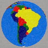 Drawing of south America on Earth Royalty Free Stock Photo