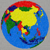 Drawing of southeast Asia on Earth Royalty Free Stock Photo