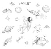 Drawing of space objects: astronaut, alien, ufo, spaceship, comet, planets and stars. Royalty Free Stock Photo