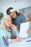 Drawing special picture for grandma Stock Photos