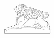 Drawing sphinx. Illustration element of architecture, EPS 8 file Royalty Free Illustration