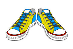 Drawing of sports shoes. youth easy footwear Royalty Free Stock Image