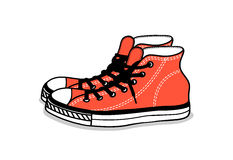 Drawing of sports shoes. youth easy footwear Royalty Free Stock Photos