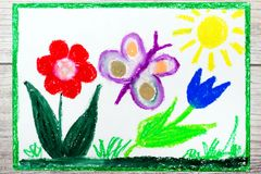 drawing: Springtime, butterfly and cute flowers. stock illustration