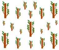 Drawing sprout tree geometric seamless pattern. stock illustration