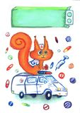 Drawing of the squirrel doctor which is sitting in an ambulance, surrounded by medicines and pills, a day of doctor postcard. The squirrel doctor is sitting in Stock Photo