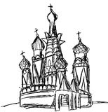 Drawing of St. Basil Cathedral (Moscow) Stock Image