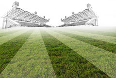 Drawing of stadium on green field Stock Image