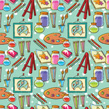 Drawing stationary instruments pattern. Painting and illustration supplies pattern background. Seamless school texture Vector Illustration