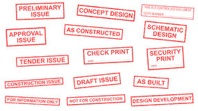 Drawing status stamps. Assorted status stamps for a technical drawing. Image created February 25th, 2015 Stock Photos