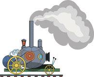 Drawing of a steam locomotive on a white background. Figure railroad car on a white background Royalty Free Stock Images