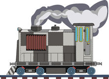 Drawing of a steam locomotive on a white background. Figure railroad car on a white background Stock Photos