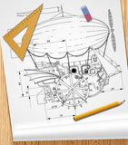 Drawing of steampunk complex fantastic flying ship on paper and. Board. Retro technology and design concept. There is in addition a vector format EPS 10 Stock Photography