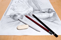 Drawing of still life by graphite pencil. Stock Images