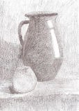 Drawing still life. Jug and apple on the table. Royalty Free Stock Image