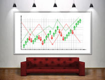 Drawing stock chart on banner. Royalty Free Stock Photo