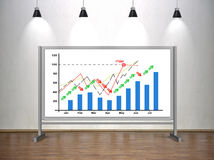 Drawing stock chart on whiteboard Stock Photography