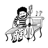 Drawing of a street musician in funny pants in polka dots playing a cello, sketch manually drawn  i Royalty Free Stock Image