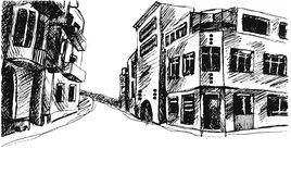Drawing street. Vector sketch. Hand drawing street. Vector sketch Royalty Free Stock Photography