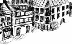 Drawing street. Vector sketch. Stock Photography