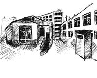 Drawing street. Vector sketch. Line drawing street. Vector sketch Royalty Free Stock Image