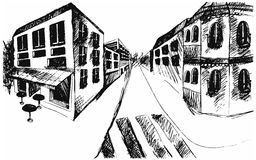 Drawing street. Vector sketch. Line drawing street. Vector sketch Stock Photo