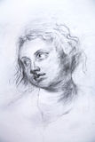 Drawing studio works. Portrait. Drawing studio works / Portrait of old of the women Royalty Free Stock Photography