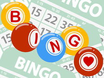 Drawing style bingo balls over green cards background Stock Image