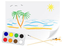 Drawing summer. Children's drawing a brush summer on a paper Stock Images