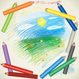 Drawing of summer landscape and color pencils Royalty Free Stock Photos