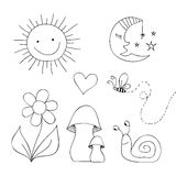Drawing - sun, moon, flower, mushrooms, snail, heart Royalty Free Stock Photos