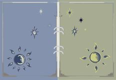 Drawing the sun, moon and stars for the book page vector illustration
